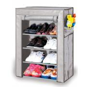 4-Tier Shoe Closet with Fabric Cover-Gray Color-23.6
