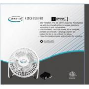 #F104-WT, 4 Inch USB Fan with 4 Aluminum Blades and Adapter-12PCS/CS