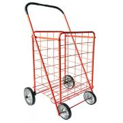 #NC-155-RD,L Size Dual Basket Shopping Cart with 4 Metal Wheels-3PC/CS