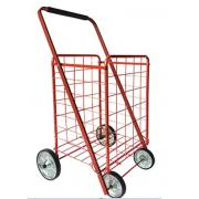 #NC-160-RD, Heavy Duty L Size Shopping Cart with 4 Metal Wheels -3PC/CS