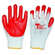 #G103 8 Pairs Latex Palm Work Gloves in Red - 10 Bags/Strip